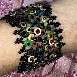 Handmade black seed beaded Wide Cuff bracelet